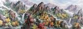 【已售】朝鲜一级艺术家李银光山水画作品《香山的秋天》