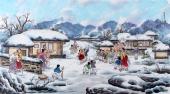 【已售】朝鲜一级艺术家李银光四尺民俗画《北方的冬天》