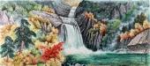 朝鲜一级艺术家金勇作品《苗香山遥谷》