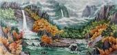 朝鲜一级艺术家李哲山水画《香山的秋天》