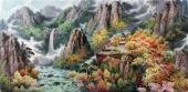 【已售】朝鲜一级艺术家延安小四尺山水画《外七宝山的秋天》
