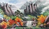 朝鲜一级艺术家李银光山水画作品《苗香山》