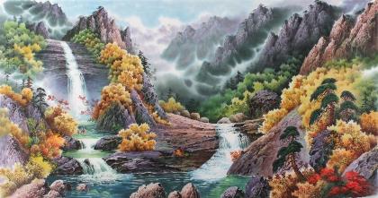 朝鲜二级艺术家尹哲山水画作品《七宝山溪谷的秋天》