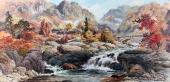 【已售】朝鲜一级艺术家金明振山水作品《金刚山》