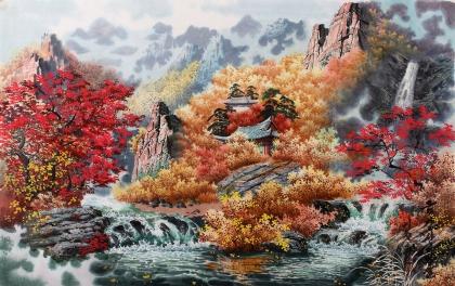 朝鲜一级艺术家李银光《金刚山的秋天》