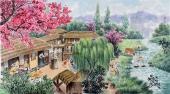 【已售】朝鲜一级艺术家虎成日民俗画《香山的溪谷》