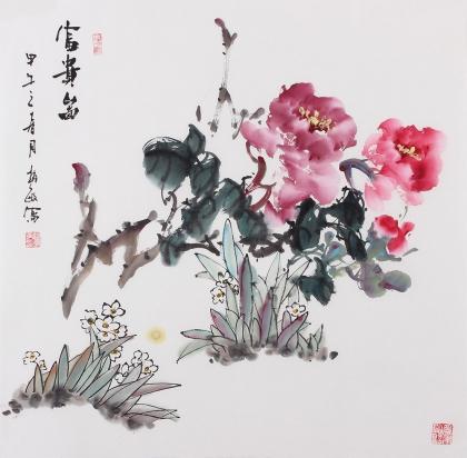 赵敏四尺斗方国画牡丹 富贵图