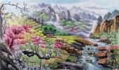 【已售】朝鲜一级艺术家李银光三尺山水画《香山的春天》