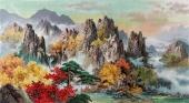 【已售】朝鲜一级艺术家金花风景画《秋天的溪谷》