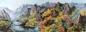 【已售】朝鲜功勋艺术家金星山水画《香山的秋天》