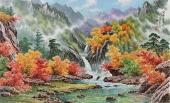 朝鲜一级艺术家英福三尺山水画《溪谷的春天》