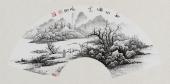 【已售】河北美协李俊卿 扇面工笔山水画《秋山论道》