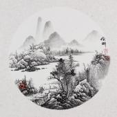 【已售】河北美协李俊卿 扇面工笔山水画《携琴访友》