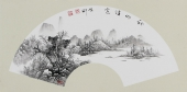 【已售】河北美协李俊卿 扇面工笔山水画《秋山诗意》