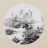【已售】河北美协李俊卿 团扇工笔山水《秋山诗意》