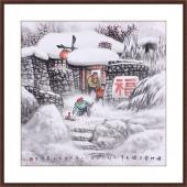 中国美协赵金鸰写意斗方雪村图《炮竹声声过大年》