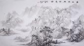 河北美协李俊卿 小六尺工笔山水画《青山溪桥诗意图》