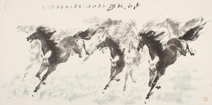 动物画名家江南一马 杨主旺水墨国画马《马到成功》