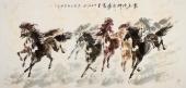 【已售】一级美术师杨主旺六尺八骏图《龙马精神奔腾万里》