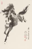 【已售】江南画马人杨主旺四尺三开骏马图《志在千里》