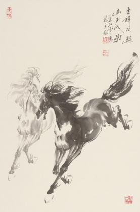 著名动物画家杨主旺四尺三开骏马图《吉祥双骏》