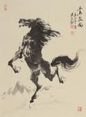 【已售】江南一马杨主旺四尺三开水墨国画马《立马昆仑》
