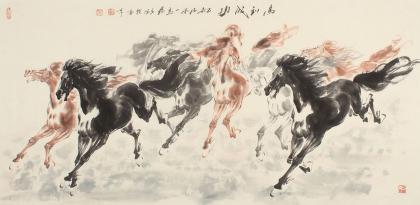 【已售】江南一马杨主旺四尺水墨画《马到成功》