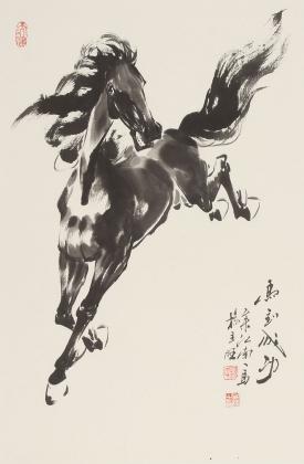 著名动物画家杨主旺四尺三开骏马图《马到成功》