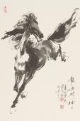 【已售】江南画马人杨主旺四尺三开骏马图《龙马精神》