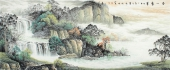 名家书画 国礼艺术家周卡写意山水画作品《源远流长》