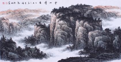 【已售】牛鸿亮四尺横幅山水画作品《云山清音》
