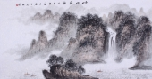 【已售】河北美协袁印玺四尺山水画作品《峡江船影》