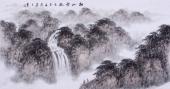 袁印玺山水画作品 四尺横幅《秋山云海》