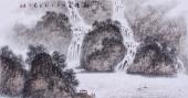 【已售】国画家墨之四尺横幅山水画作品《观瀑图》