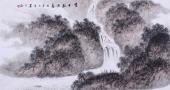 【已售】河北美协墨之四尺横幅山水画《高士观景图》