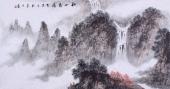 【已售】办公室国画精品 袁印玺四尺横幅山水画《秋山飞瀑》