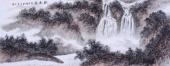 河北美协袁印玺小六写意山水画作品《观瀑图》