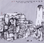 楹联协会会员宋元明山水画作品《秋意山川》