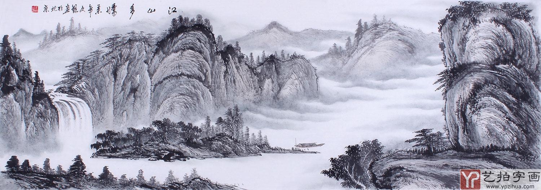 客厅装饰画 王文银六尺横幅水画作品《江山多娇》