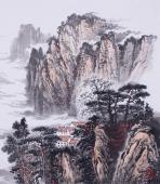 【已售】办公室装饰画 堵传津四尺横幅山水画作品《黄山翠峰》