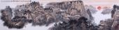 堵传津八尺长条精品山水画作品《霜染枫林十月初 天公磨赭复调朱》