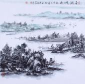 一帆风顺图 杨秀亮四尺斗方山水画作品《平湖帆影》