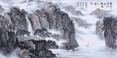 一帆风顺 郝志强精品家居山水画作品《疏峰时吐月 密树不开天》