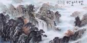 【询价】内蒙古美协郝志强四尺横幅山水画作品《斜影风前合 圆纹水上开》