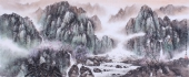 【已售】青年山水名家张红专小六尺山水画作品《一夜春雨满树花》