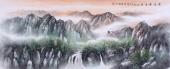 办公室国画精品 张红专小六尺山水画作品《夏云翠谷溪水流》