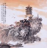 【已售】诗意山水画 庾超然斗方写意国画《故人西辞黄鹤楼》