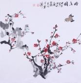 书房字画装饰 庾超然斗方花鸟作品《暗香图》