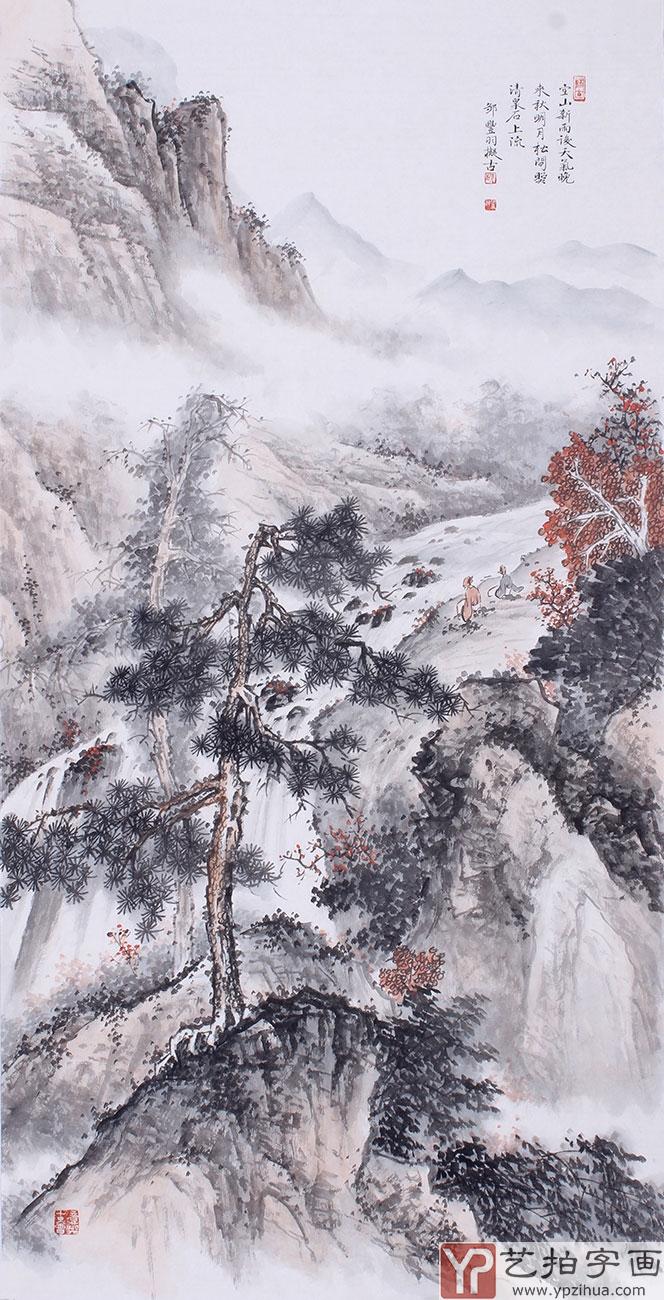 仿古山水画 邹丰羽写意国画作品《空山新雨后》