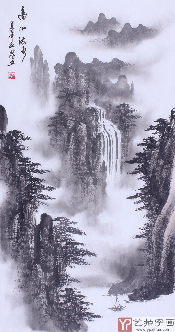 中国著名画家张继国写意山水画作品《归渔图》图片
